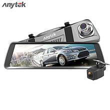 Видеорегистратор-зеркало Anytek T90 полный экран 9.88 двойной объектив, регистратор в авто DVR, Подарок!