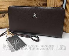 Мужское портмоне из искусственной кожи коричневого цвета, один отдел на молнии, 6 купюрниц