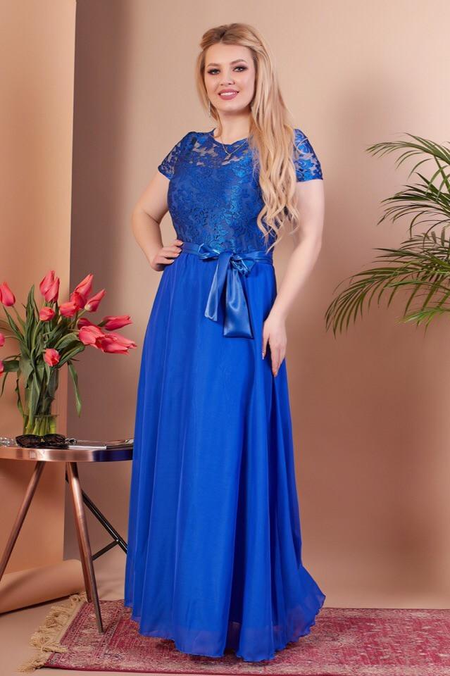 Нарядное женское платье длинное с вышивкой 50 52 54