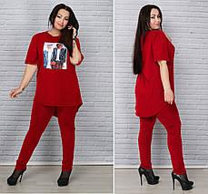"""Летний брючный женский костюм """"Керри"""" с блузой (большие размеры), фото 2"""