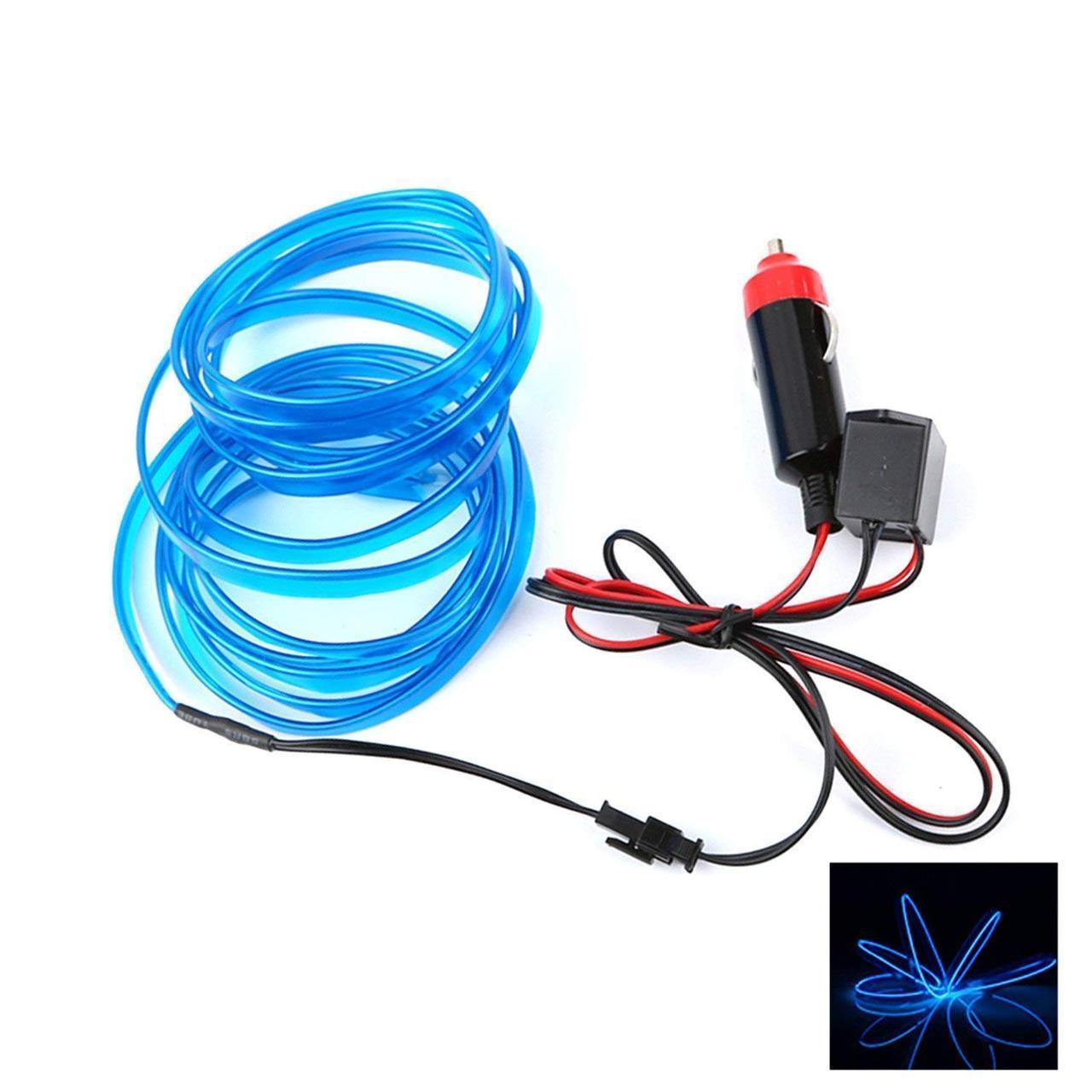Гибкий светодиодный Неон для автомобиля 5м, 12V  синий