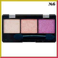Тени Qianyu MS 6103 Розово-Сиреневые Трехцветные Матовые и Атласные Тон 06