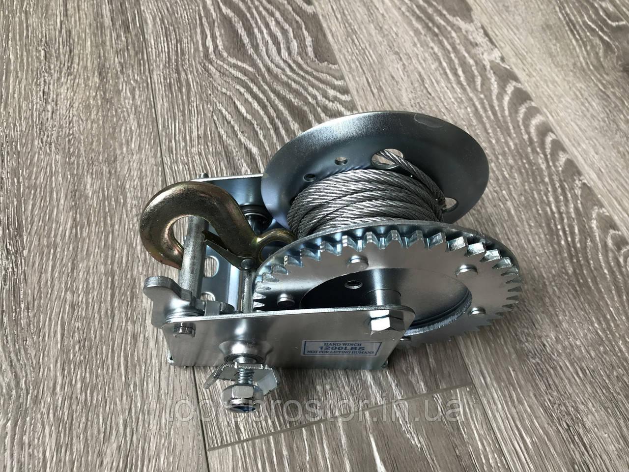 Лебедка ручная барабанная Hand Winch KC-1200 : 800 кг | 10 м