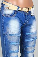 Женские  зауженные джинсы с декором  ( xs.s. m. размеры )