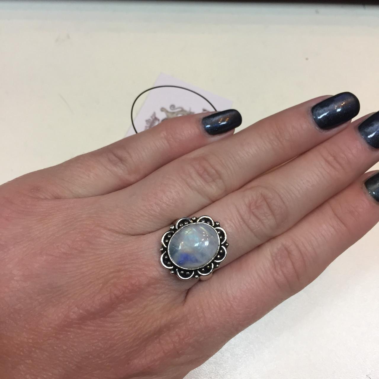 Красивое кольцо натуральный лунный камень в серебре. Кольцо с лунным камнем адуляр 17,3 размер Индия