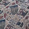 Гобелен Баракан с абстрактным рисунком бежево-серого цвета, ширина 150 см