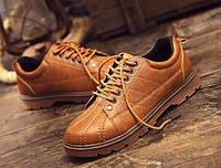 Мужские легкие ботинки рыжие, фото 1