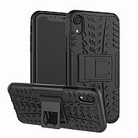 Чехол для Apple Iphone XR противоударный бампер с подставкой черный