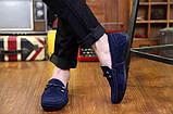 Замшевые недорогие синие мужские мокасины, фото 3