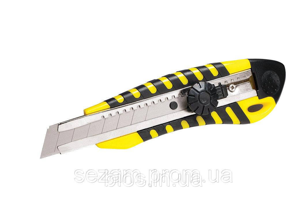 Ніж канц. 18мм гвинт. фікс.,метал.напр.,прогумов.SOZ-4521
