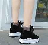 Черные женские ботинки на шнуровке с цветным задником, фото 3