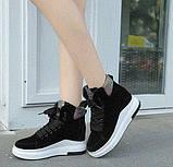 Черные женские ботинки на шнуровке с цветным задником, фото 5