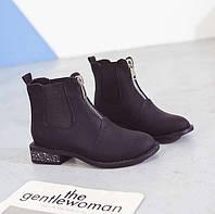Черные матовые ботинки с низким квадратным каблуком, фото 1