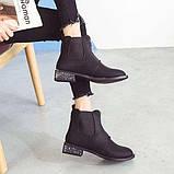 Черные матовые ботинки с низким квадратным каблуком, фото 6