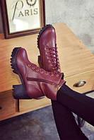 Высокие бордовые ботинки на шнуровке без подкладки внутри, фото 1