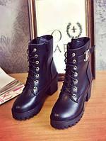 Высокие черные ботинки на шнуровке без подкладки внутри, фото 1