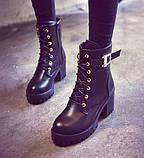 Высокие черные ботинки на шнуровке без подкладки внутри, фото 4