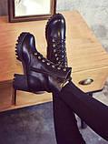 Высокие черные ботинки на шнуровке без подкладки внутри, фото 5