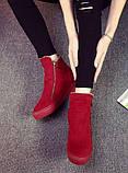 Красные высокие кроссовки с молниям женские, фото 2