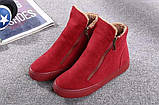 Красные высокие кроссовки с молниям женские, фото 4