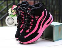 Высокие кроссовки с розовыми вставками на зиму, фото 1