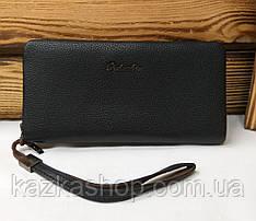 Мужское портмоне из искусственной кожи черного цвета, один отдел на молнии, 4 купюрници
