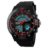 Часы Skmei 1110, черный-красный, в металлическом боксе