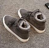 Теплые высокие серые кеды шнуровке+липучка, фото 2