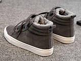 Теплые высокие серые кеды шнуровке+липучка, фото 5