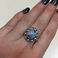 Кольцо круглое лунный камень в серебре. Кольцо с лунным камнем адуляр размер 18-18,3 Индия, фото 1