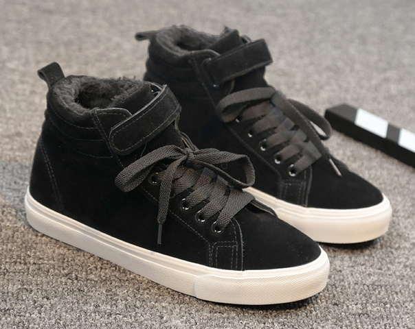 Теплые высокие черные кеды шнуровке+липучка