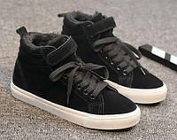 Теплые высокие черные кеды шнуровке+липучка, фото 1