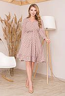 Нежное платье миди с ложным запахом с рюшами длинный рукав бежевое в горох