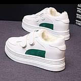 Зимние кроссовки на липучках белый +зеленый, фото 2