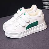 Зимние кроссовки на липучках белый +зеленый, фото 3
