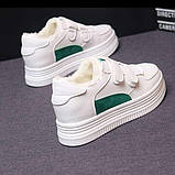 Зимние кроссовки на липучках белый +зеленый, фото 4
