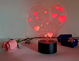 "3D светильник ""Люблю тебя"" 3DTOYSLAMP"