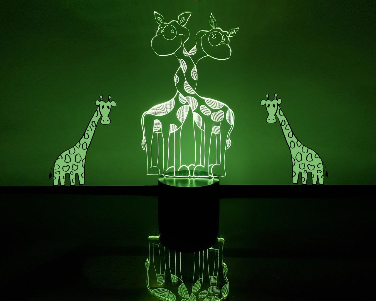 """3d светильник """"Влюбленные жирафики"""" 3DTOYSLAMP"""