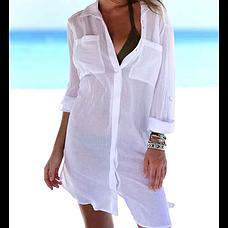 Белая пляжная РУБАШКА Лёгкая на пуговицах с карманами -146-51-2, фото 3
