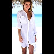 Белая пляжная РУБАШКА Лёгкая на пуговицах с карманами -146-51-2, фото 2