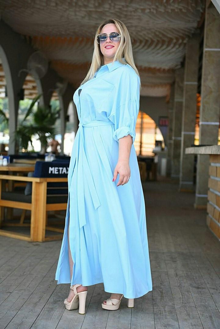 Женское летнее платье рубашечного стиля 46-64