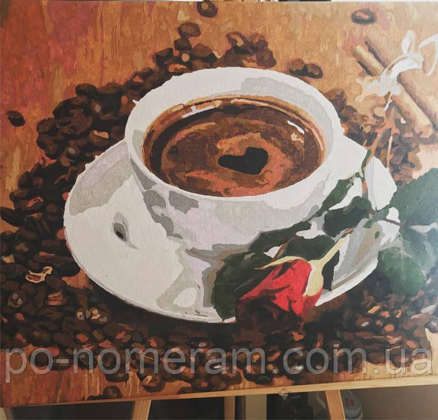 картина по номерам Приглашение на кофе фото и отзыв о готовой работе