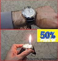 Наручные часы с встроенной зажигалкой. Кожаный ремешок. Часы кварцевые мужские.