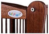 Кровать Babyroom Еліт резьба маятник, ящик, откидной бок DER-7  бук орех, фото 7
