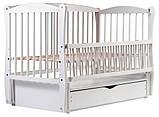 Кровать Babyroom Еліт резьба маятник, ящик, откидной бок DER-7  бук белый, фото 2