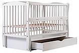 Кровать Babyroom Еліт резьба маятник, ящик, откидной бок DER-7  бук белый, фото 3