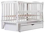 Кровать Babyroom Еліт резьба маятник, ящик, откидной бок DER-7  бук белый, фото 4