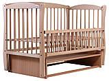 Кровать Babyroom Еліт резьба, маятник, откидной бок DER-6  бук светлый (натуральный), фото 2