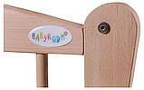 Кровать Babyroom Еліт резьба, маятник, откидной бок DER-6  бук светлый (натуральный), фото 6