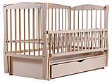 Кровать Babyroom Еліт резьба маятник, ящик, откидной бок DER-7  бук слоновая кость, фото 2